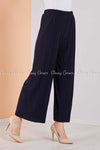 Pleated Navy Blue Modest Comfy Pants - left side view