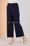 Pleated Navy Blue Modest Comfy Pants - right side view