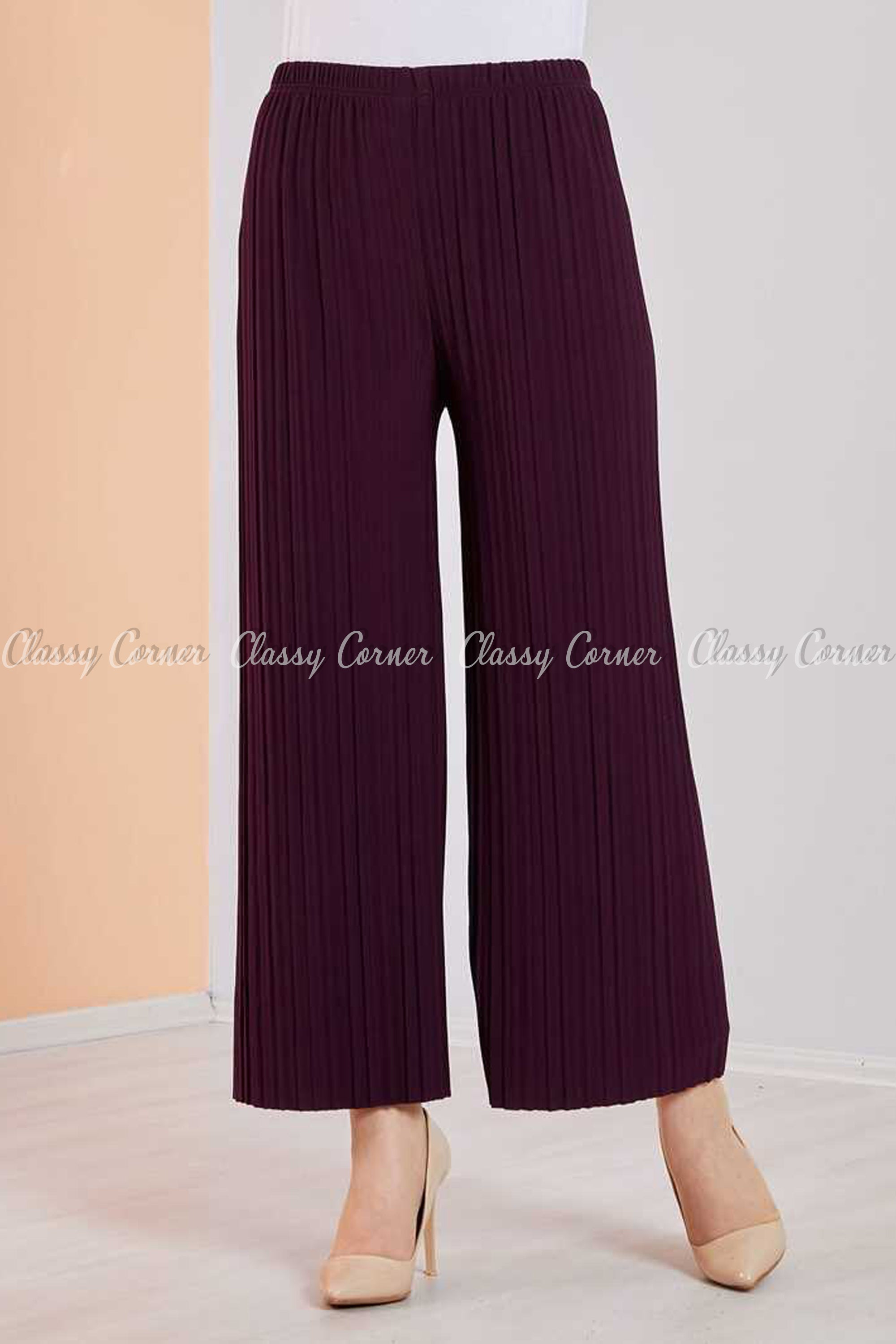 Pleated Purple Modest Comfy Pants