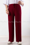 Pleated Red Modest Comfy Pants - front view
