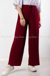Pleated Red Modest Comfy Pants - full details