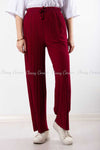 Pleated Red Modest Comfy Pants
