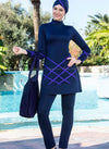 Purple Criss Cross Design Navy Blue Full Bodysuit Swimsuit