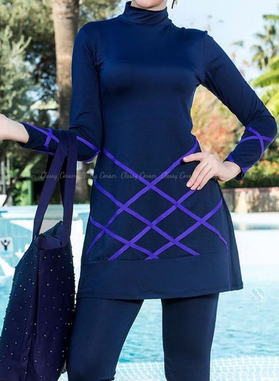 Purple Criss Cross Design Top