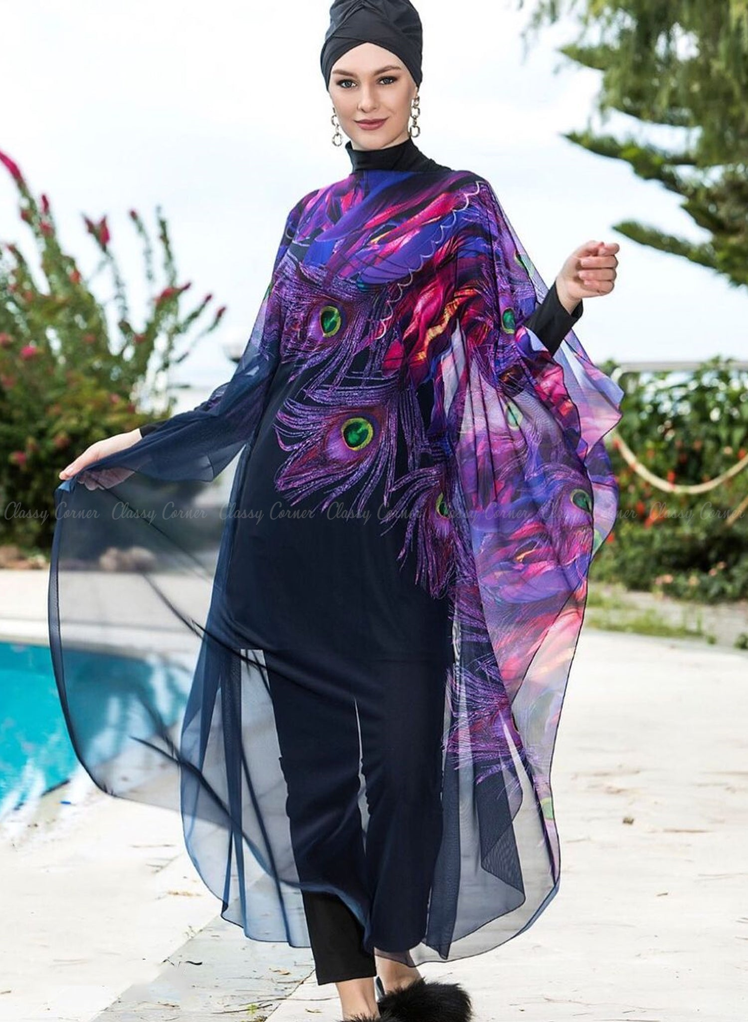 Purple Elegant Peacock Feather Print  Black Swim Wear Cover Up