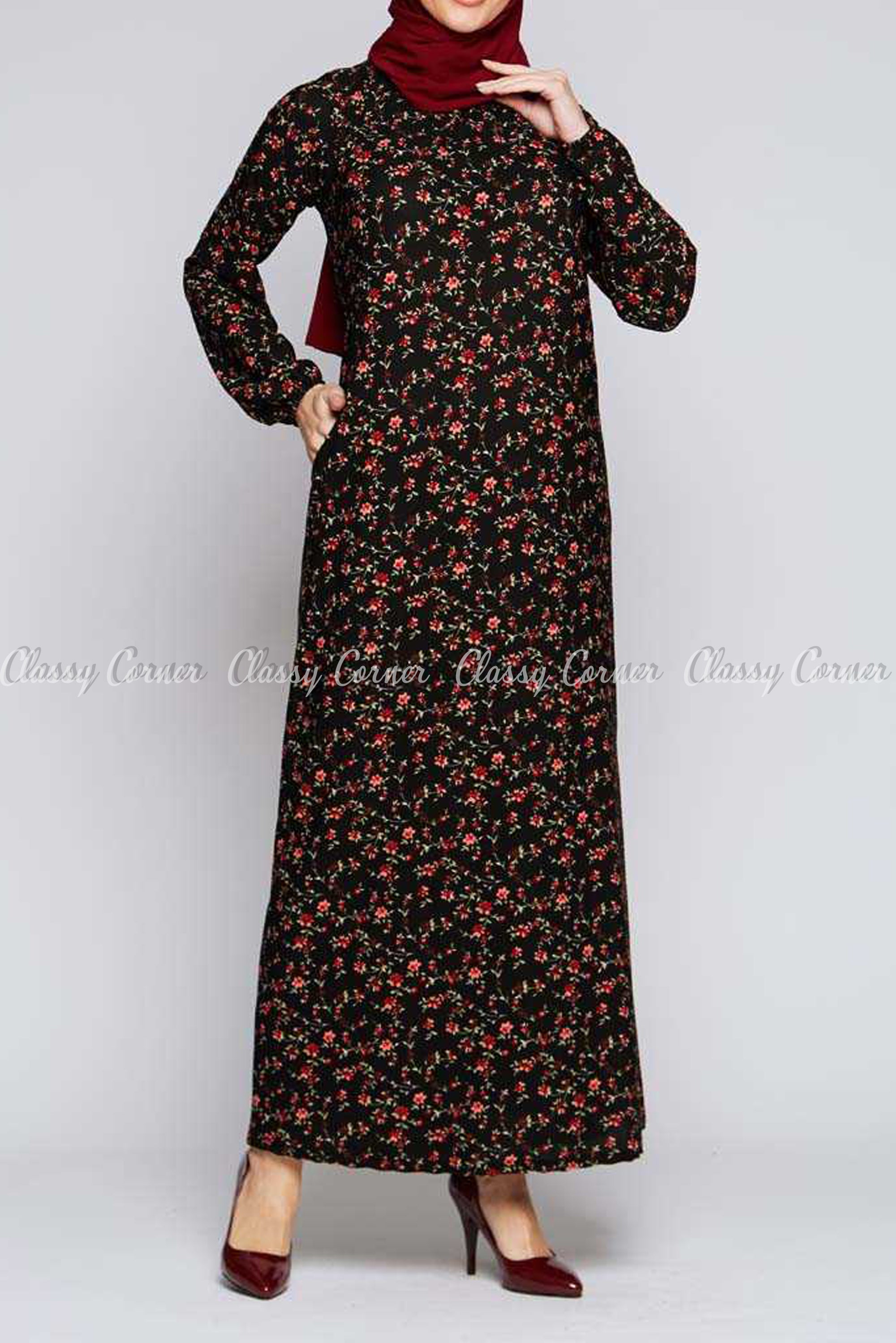 Red Fine Flower Print Black Modest Long Dress
