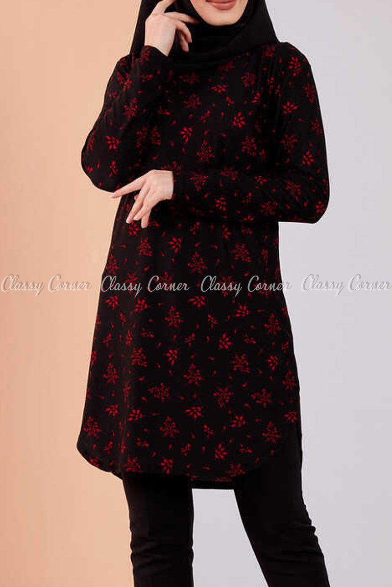 Red Floral Print Black Modest Tunic Dress