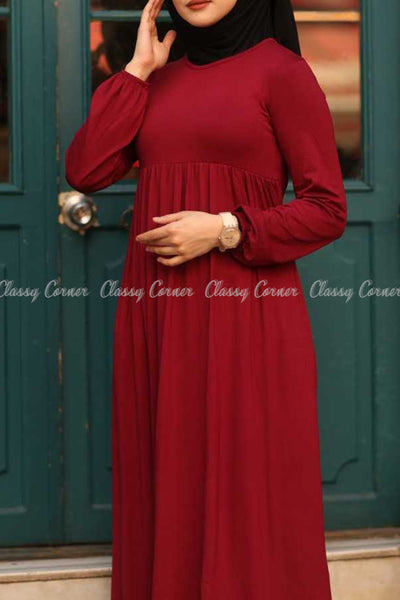 Red Modest Maternity Long Dress - design details
