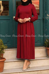 Red Modest Maternity Long Dress - front
