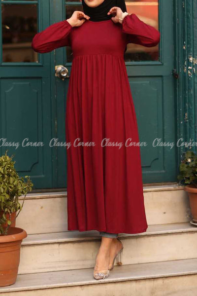 Red Modest Maternity Long Dress - front details