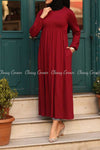 Red Modest Maternity Long Dress - front view