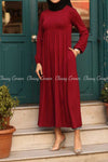 Red Modest Maternity Long Dress - full front details