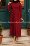 Red Modest Maternity Long Dress - full front view