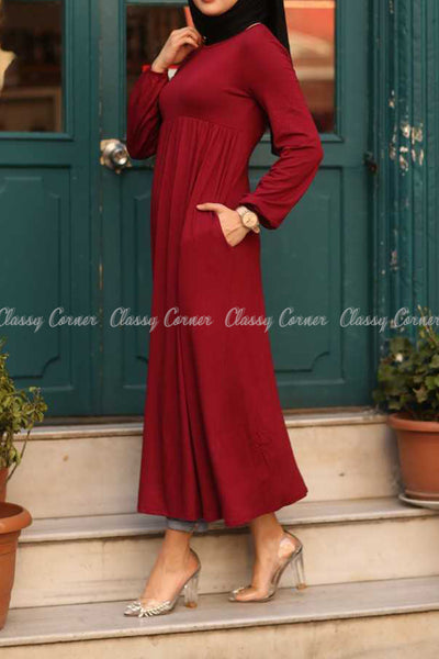 Red Modest Maternity Long Dress - right side details