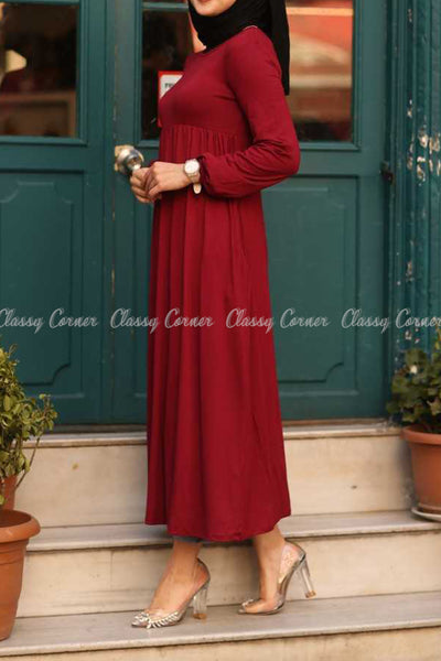 Red Modest Maternity Long Dress - right side view