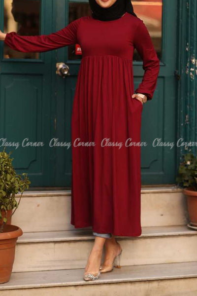 Red Modest Maternity Long Dress - side pocket details
