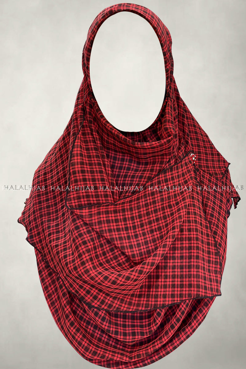 Red and Black Plaid Design Comfy Instant Hijab