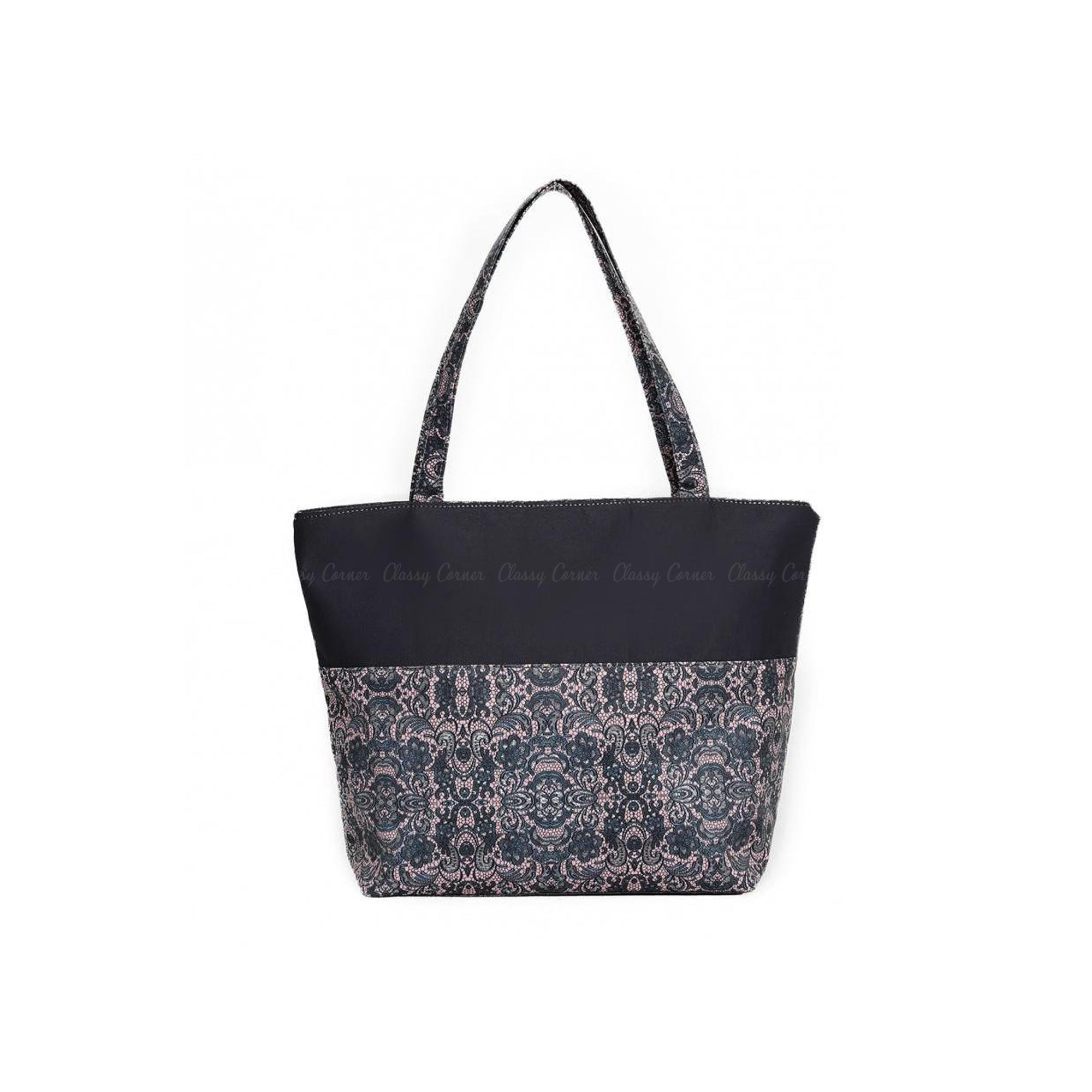 Royal Mandala Print Grey Zipper Beach Bag