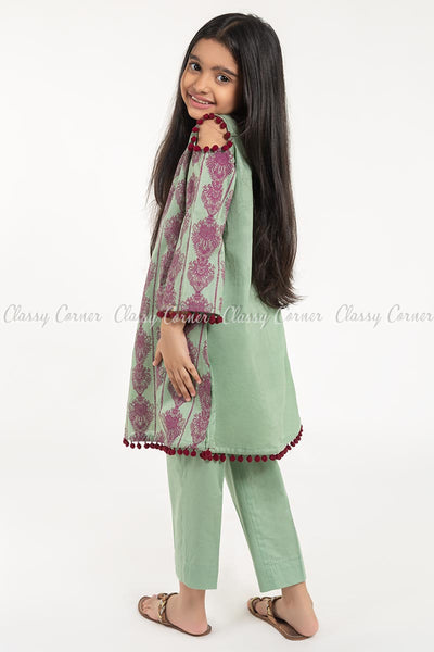 Royal Print with Pom-pom Green Kids Salwar Kameez - back view
