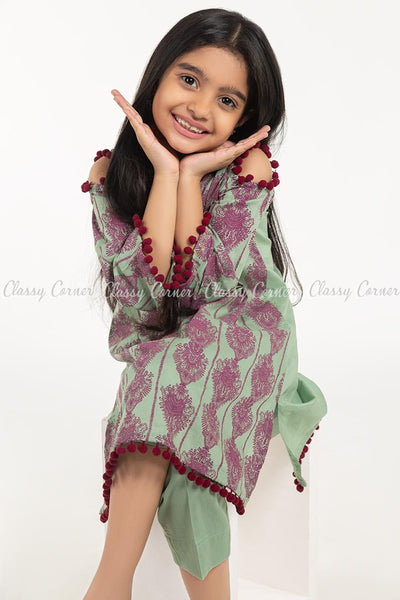 Royal Print with Pom-pom Green Kids Salwar Kameez - closer view