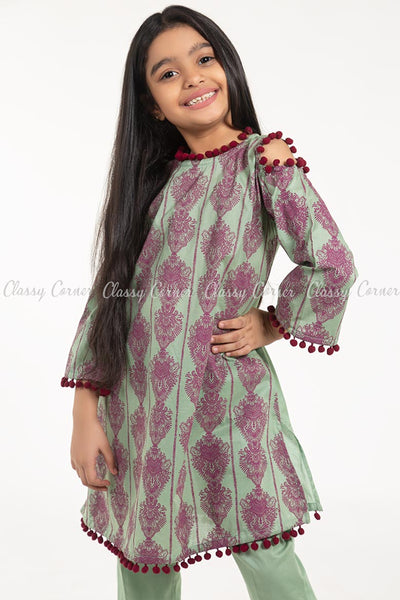 Royal Print with Pom-pom Green Kids Salwar Kameez - front closer view