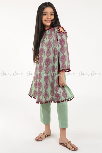 Royal Print with Pom-pom Green Kids Salwar Kameez - full front view