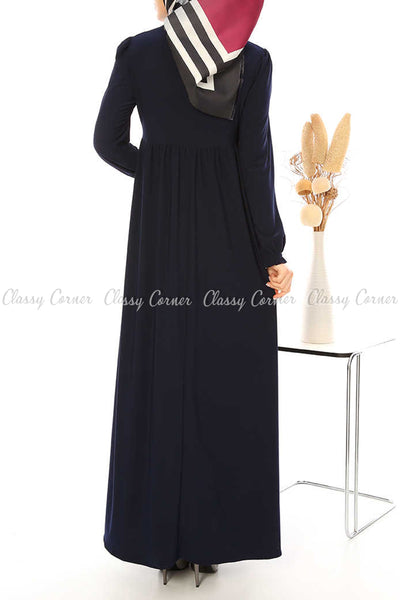 Ruffled Long Sleeves Navy Blue Modest Long Dress - back view