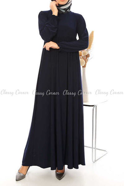 Ruffled Long Sleeves Navy Blue Modest Long Dress - full front view