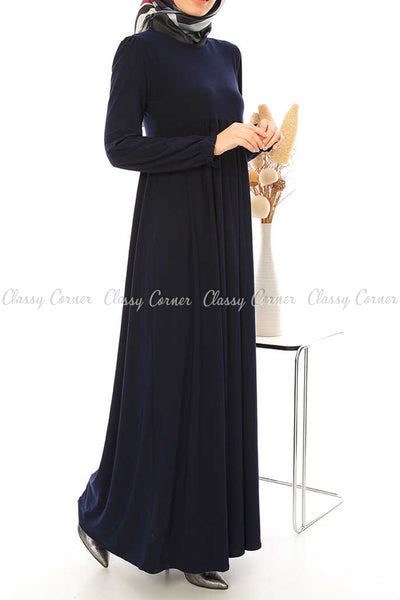 Ruffled Long Sleeves Navy Blue Modest Long Dress - left side view