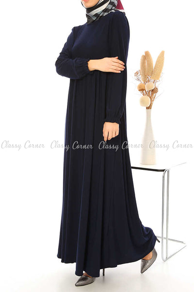 Ruffled Long Sleeves Navy Blue Modest Long Dress - right side view