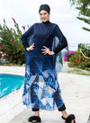 Shades of Blue Abstract Print Navy Blue Swimsuit Cover Up