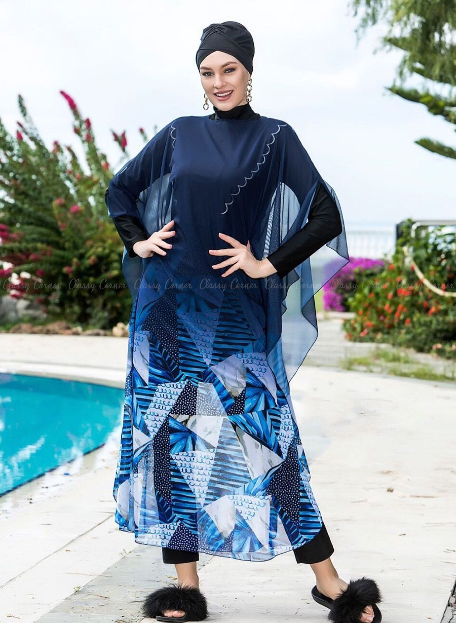 Shades of Blue Abstract Print Navy Blue Swim Wear Cover Up