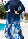 Shades of Blue Abstract Print Navy Blue Swimsuit Cover Up Closed Up