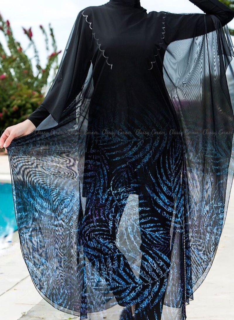 Shades of Blue Leafy Print Black Swim Wear Cover Up
