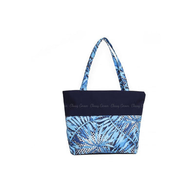 Shades of Blue Leafy Print Navy Blue Zipper Beach Bag