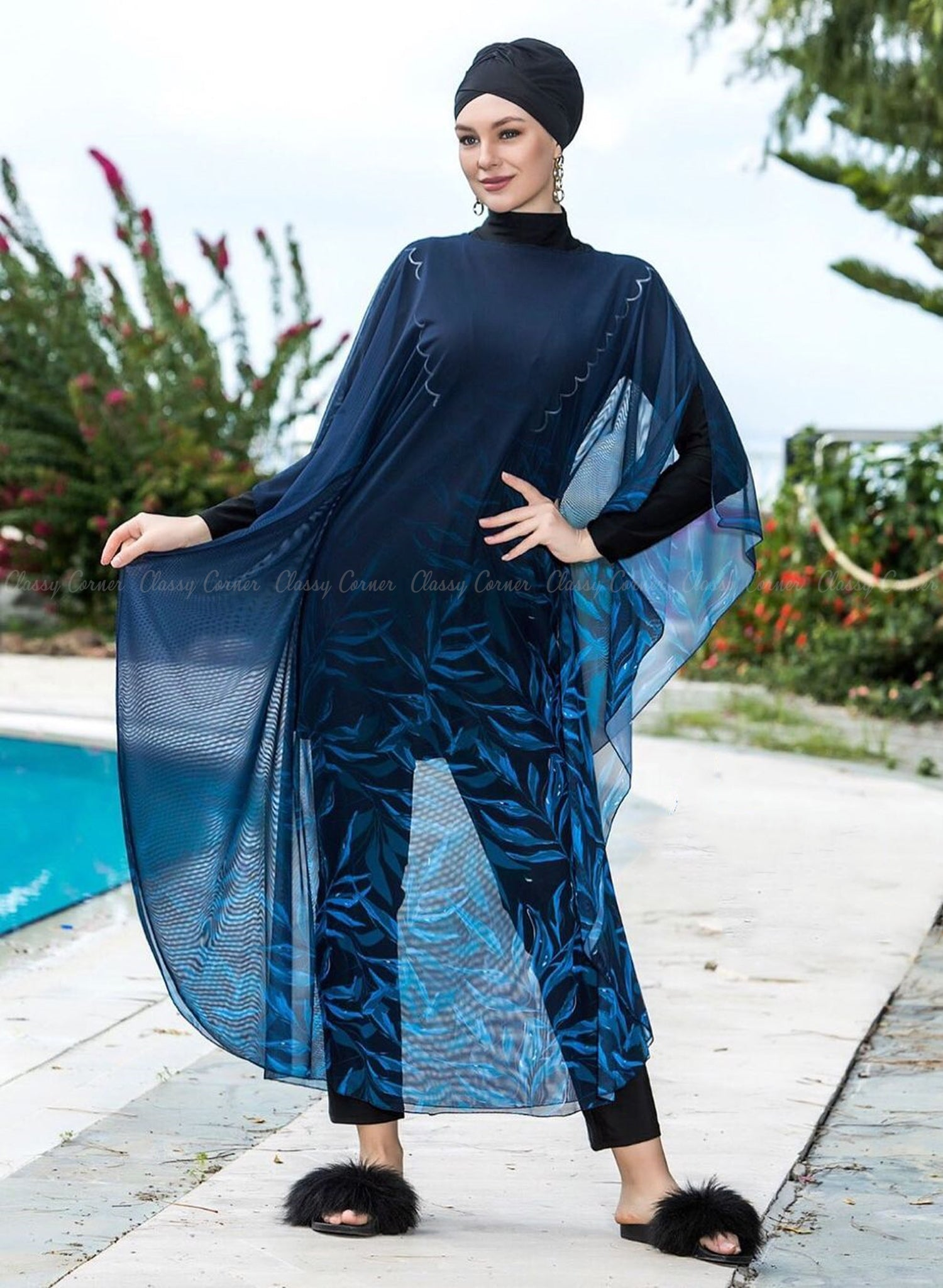 Shades of Blue Leafy Print Navy Blue Swim Wear Cover Up