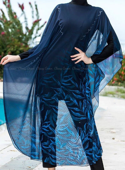 Shades of Blue Leafy Print Navy Blue Swimsuit Cover Up Closed Up