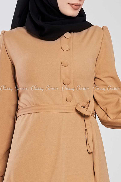 Side Button Style Beige Modest Long  Dress - design details