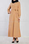 Side Button Style Beige Modest Long  Dress - front view