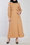 Side Button Style Beige Modest Long  Dress - full front view