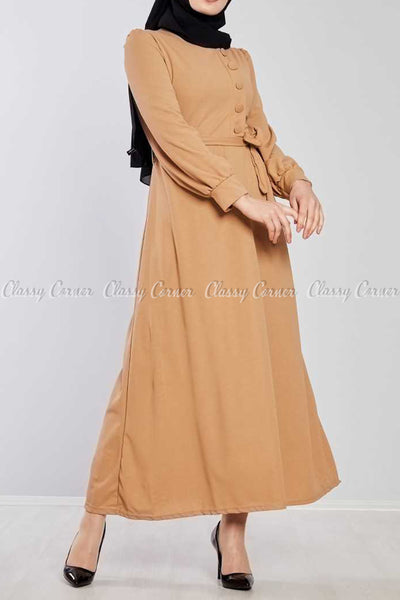 Side Button Style Beige Modest Long  Dress - left side view