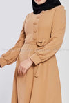 Side Button Style Beige Modest Long  Dress - side closer view