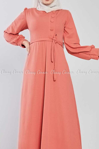 Side Button Style Peach Modest Long  Dress - front view