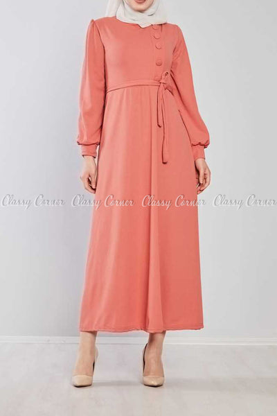 Side Button Style Peach Modest Long  Dress - full front view