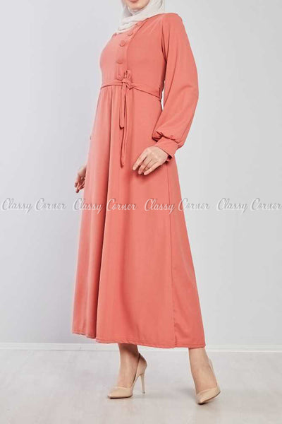 Side Button Style Peach Modest Long  Dress - right side view