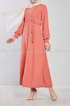 Side Button Style Peach Modest Long  Dress - side view