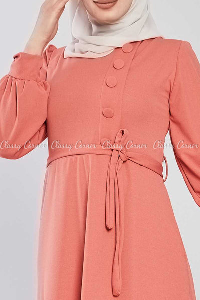 Side Button Style Peach Modest Long  Dress - top details