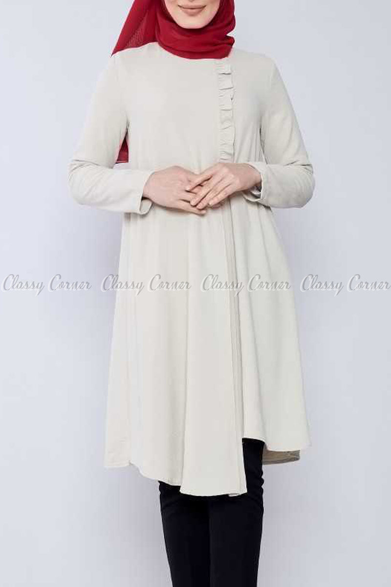 Side Ruffled Design Light Beige Modest Tunic Dress