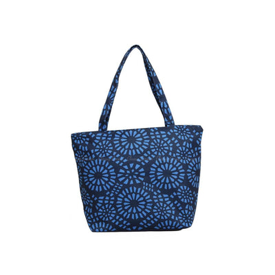 Simple Blue Abstract  Full Print Navy Blue Zipper Beach Bag