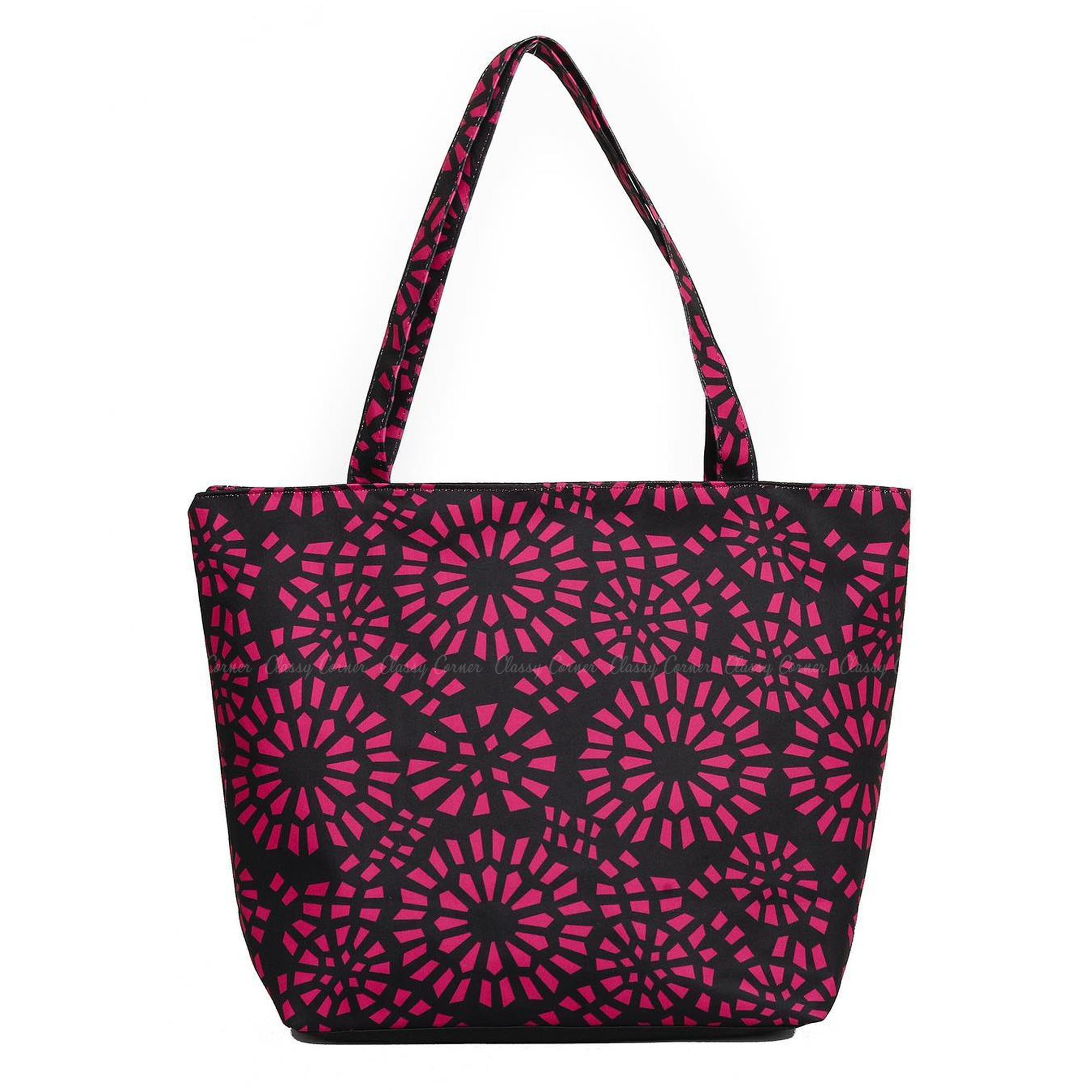 Simple Pink Abstract Full Print  Black Zipper Beach Bag